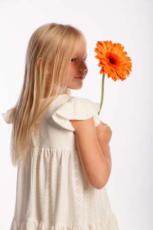 Studio portrait of cute blonde girl in white dress with single gerbera flower, white background, selective focus