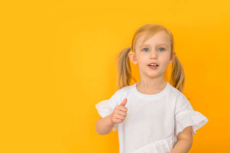 Long banner for advertising, girl on a yellow background