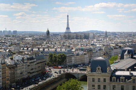 nota: Paris Panoramic View from Nota Dames Church Editorial