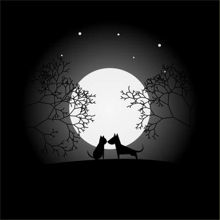 a full moon view with cat and dog vector design