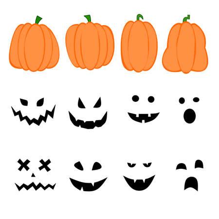 halloween pumpkin face set vector design