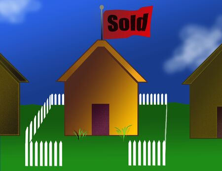 property: Illustration of home and property sale Stock Photo