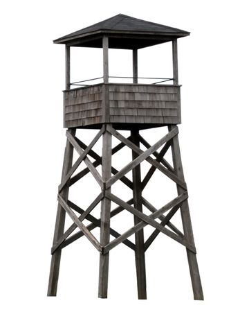 Old fashioned wooden watch tower Stock Photo