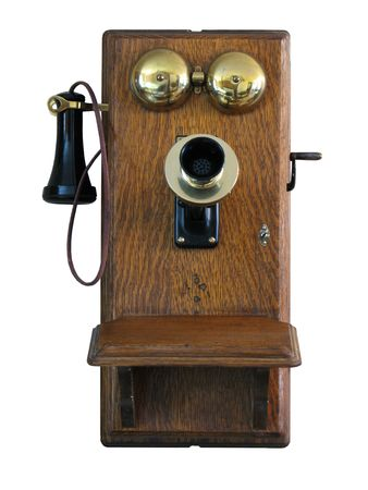 receiver: Antique Wall Telephone Stock Photo