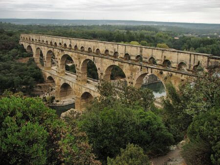 A top view of an aqueduct Pont Du Gard in France Stock Photo - 3905939