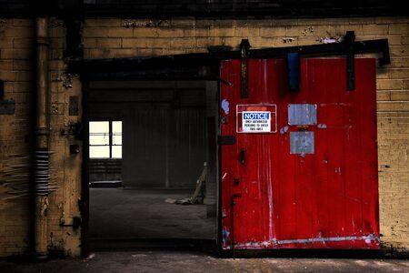 Warehouse door with sign