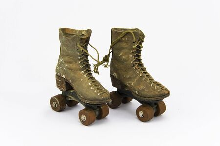 roller: Ornament vintage roller skates on isolated background