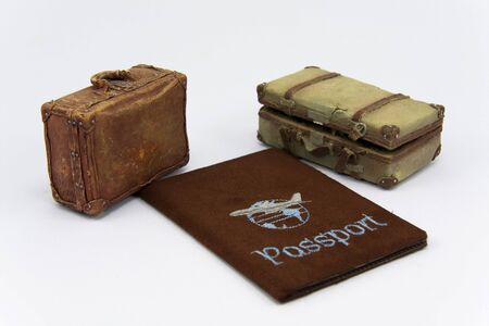 Old suitcases and travel passport  Stock fotó