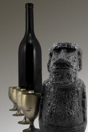 Easter island monument with wine and goblet background photo