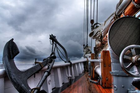 schooner: A view from the vintage deck of a classic sea schooner