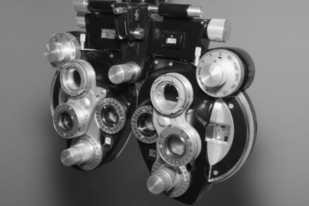Close up of a phoropter used for eye examination