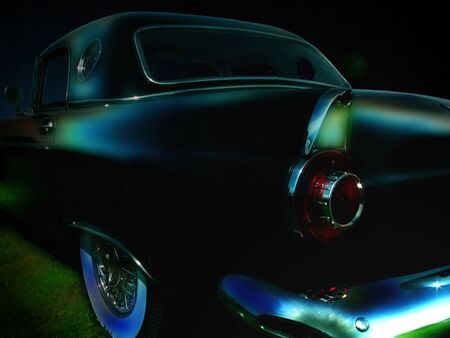 Classic car parked in the moon light Stock Photo