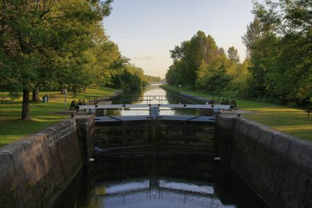 rideau canal: Rideau Canal Locks, Ontario, Canada Stock Photo
