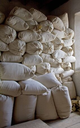 Bags of stacked flour.