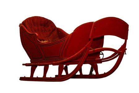 horse sleigh: Vintage horse snow sleigh isolated over white