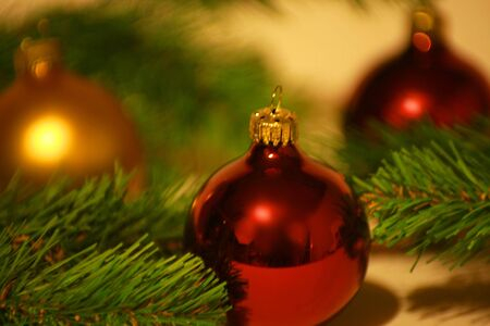 Christmas ornament background in spruce branches