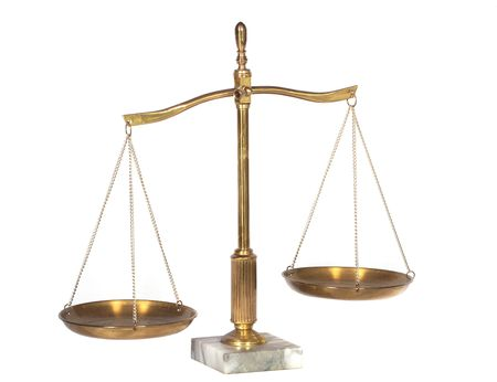 criminal law: A view of brass scales on marble base Stock Photo