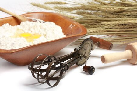 A view of Kitchenware baking utensils and cooking ingredients Stock Photo