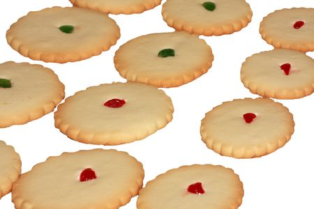 Un viee de petit pain cookies sur fond blanc  Banque d'images