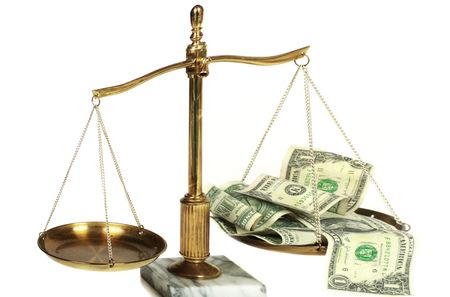 Conceptual view of high cost legal fees  Stock Photo