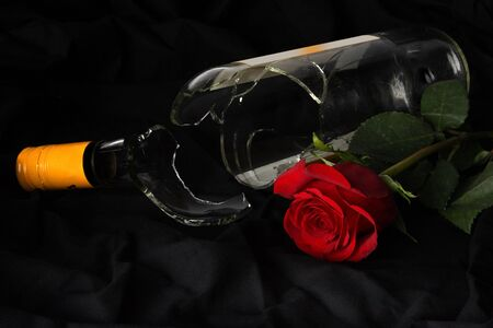 Broken wine bottle layng beside a rose photo