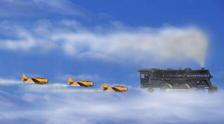 Harvard aircraft tracking a UFO steam train Stock Photo - 6585546