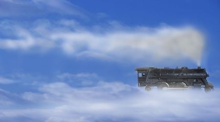 Conceptual view of a steam train cruising in the sky photo