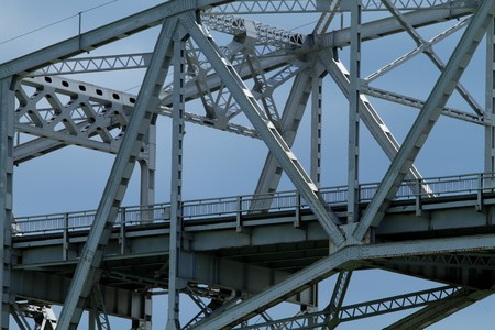 Sectional view of a steel bridge crossing. Stock Photo - 7150455