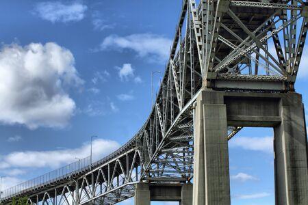 View of a steel bridge crossing from below. Stock Photo - 7150467