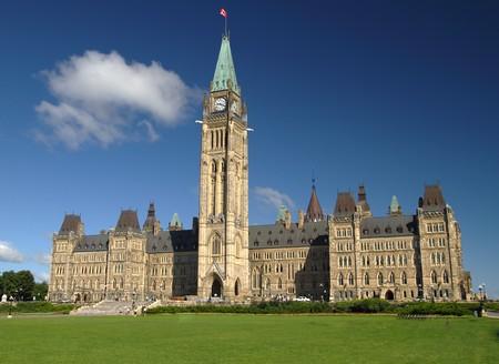 A view of Canadas parliament hill in Ottawa, Canada