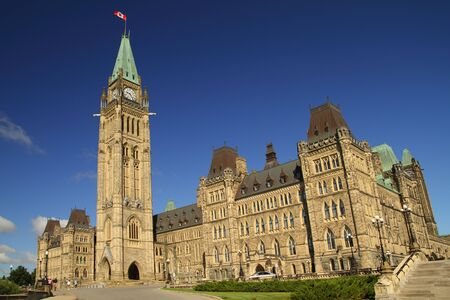 A view of Canadas parliament hill in Ottawa, Canada