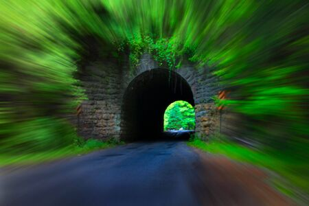 Old road tunnel with motion blur effesct