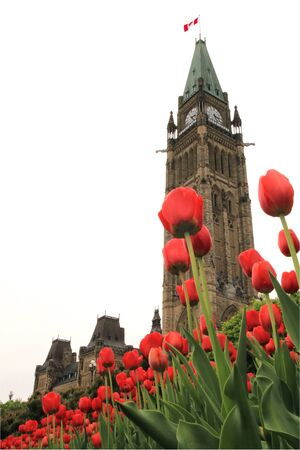 Canadas Parliament hill in the spring