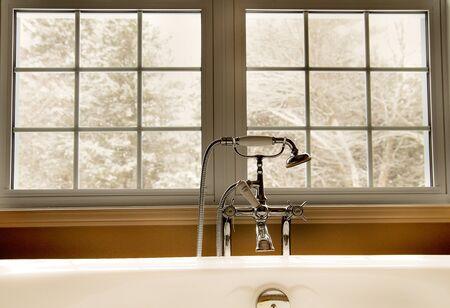 Bathtub with window view Stock Photo