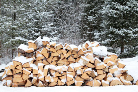 A pile of firewood on a snowy winter day Stock Photo