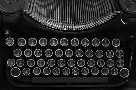 Top view of an old typewriter in black and white. Stock Photo