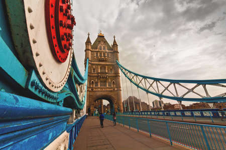Tower Bridge walkway over Thames river in London Stock Photo