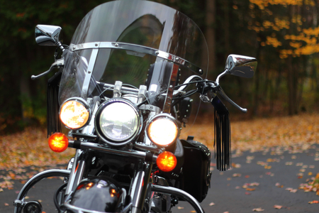 Classic motorcycle in fall setting Stock Photo