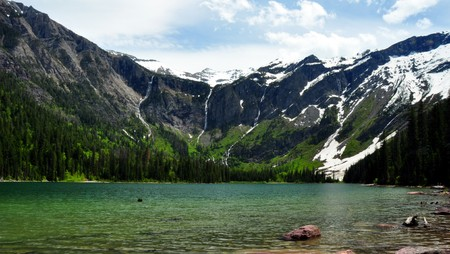 Melting glaciers, waterfalls and Avalanche Lake. Glacier National Park, Montana