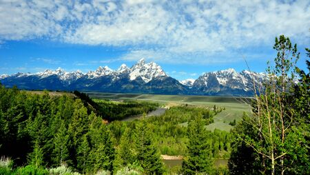 The Grand Tetons from Snake River Overlook. The Grand Teton National Park, Wyoming photo
