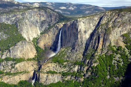 Upper and Lower Yosemite Falls on a beautiful day. Yosemite National Park, California
