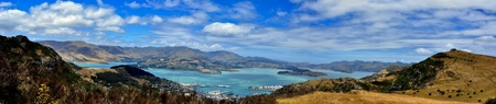 Panorama of Lyttleton Scenic Reserve and Lyttleton Harbor. New Zealand Фото со стока