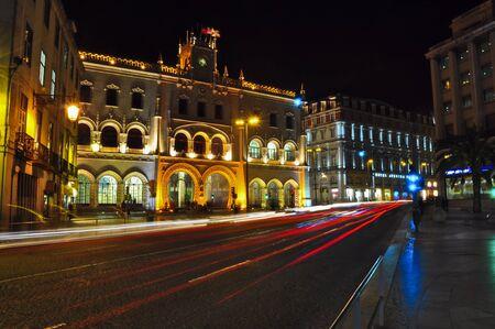 Estacao do Rossio at night. Lisbon, Portugal photo
