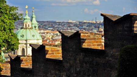 Prague Castle walls and the dome of St. Nicholas Cathedral. Prague, Czech Republic photo