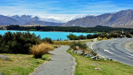 Turquoise waters of glacial Lake Tekapo. South Island, New Zealand