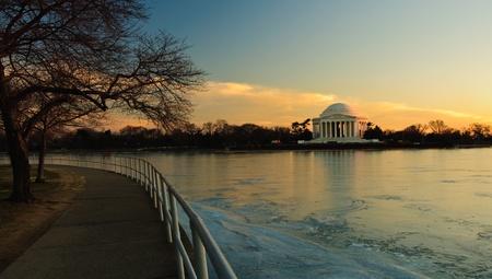 Jefferson Memorial at sunset. Washington DC