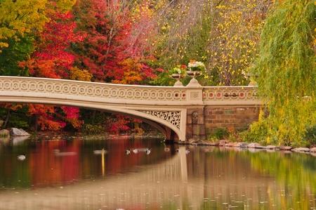 Brug van de Boog herfstkleuren. Central Park, New York City Stockfoto