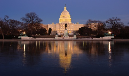 jefferson: Icy reflection and the U.S. Capitol at sunset. Washington, DC  Stock Photo