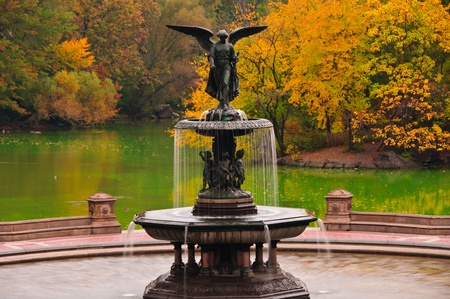central park:  Fall colors at Bethesda Fountain in Central Park  New York City
