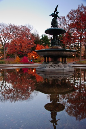 central park:  Fall colors at the Bethesda Fountain in Central Park  New York City